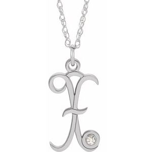 "Sterling Silver .02 CT Diamond Script Initial X 16-18"" Necklace"