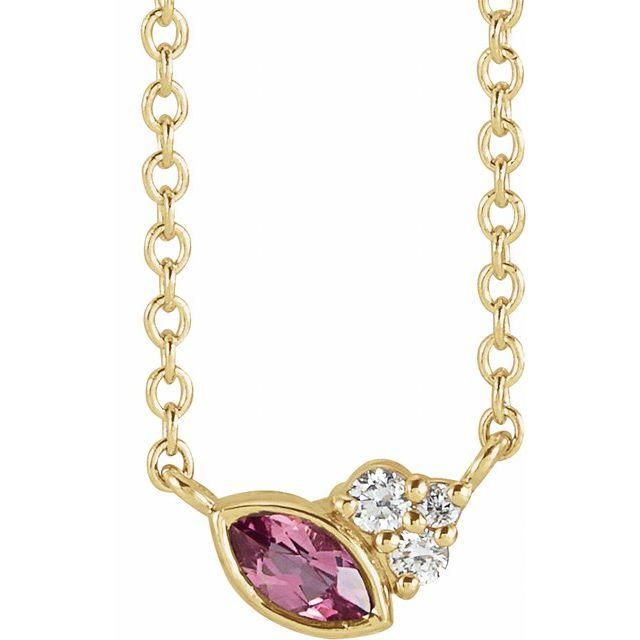 14K Yellow Pink Tourmaline & .03 CTW Diamond 18