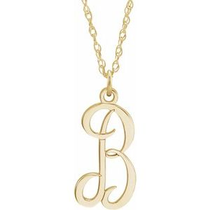 "14K Yellow Gold-Plated Sterling Silver Script Initial B 16-18"" Necklace"