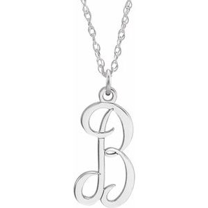 "14K White Script Initial B 16-18"" Necklace"