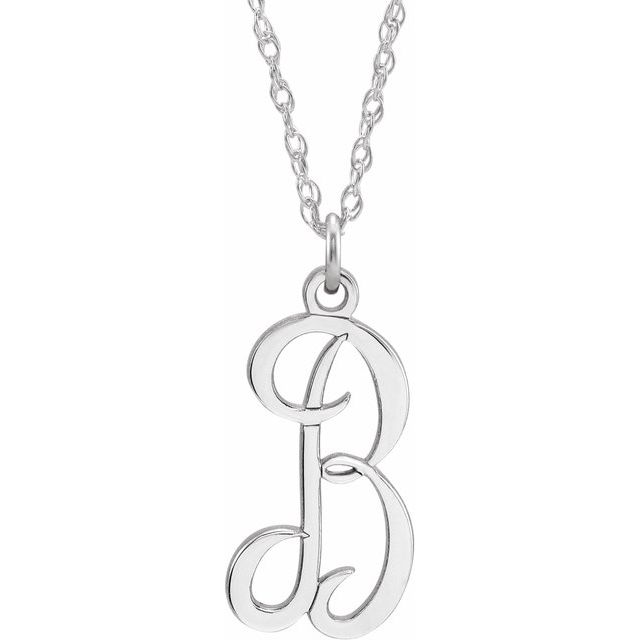 Sterling Silver Script Initial B 16-18