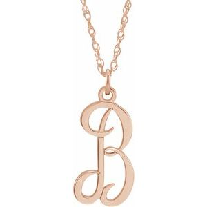 """14K Rose Gold-Plated Sterling Silver Script Initial B 16-18"""" Necklace"""