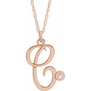 "14K Rose .02 CT Diamond Script Initial C 16-18"" Necklace"