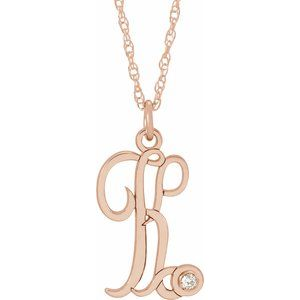 "14K Rose .02 CT Diamond Script Initial K 16-18"" Necklace"