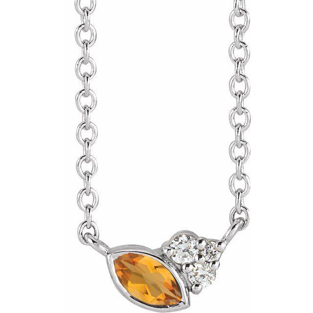 Sterling Silver Citrine & .03 CTW Diamond 16