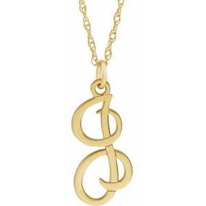 "14K Yellow Script Initial I 16-18"" Necklace"