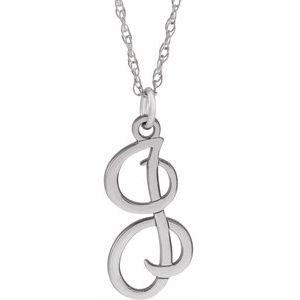 """Sterling Silver Script Initial I 16-18"""" Necklace"""