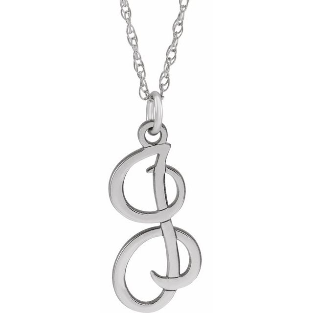 Sterling Silver Script Initial I 16-18