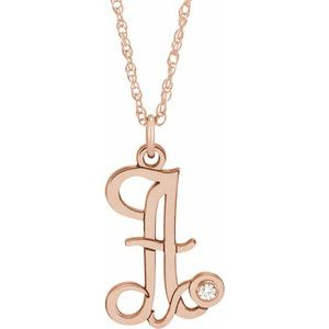 "14K Rose .02 CT Diamond Script Initial A 16-18"" Necklace"