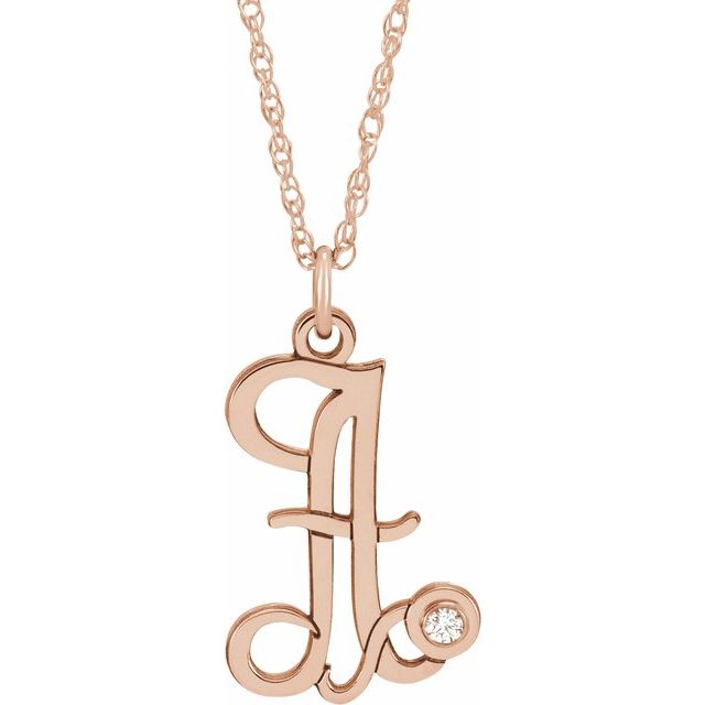 14K Rose Gold-Plated Sterling Silver .02 CT Diamond Script Initial A 16-18