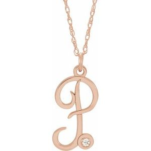 "14K Rose .02 CT Diamond Script Initial P 16-18"" Necklace"
