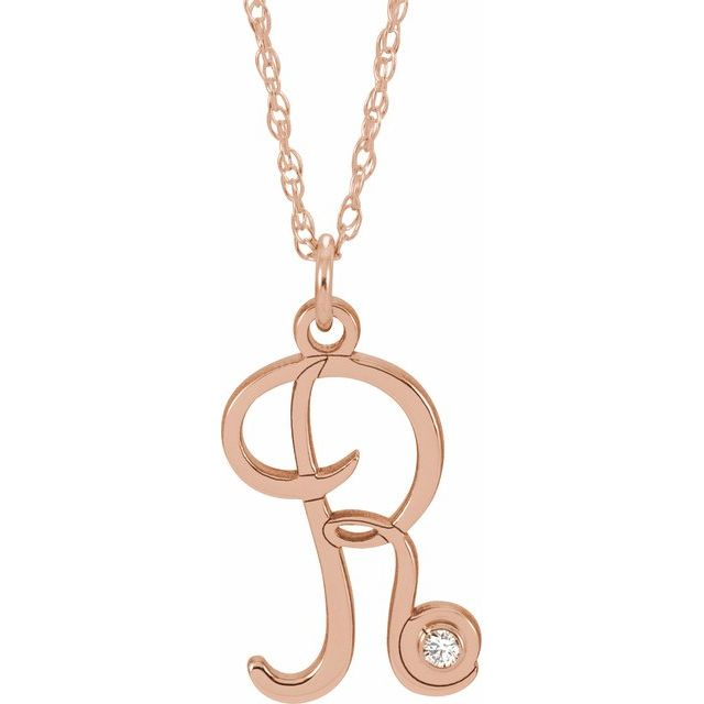 14K Rose Gold-Plated Sterling Silver .02 CT Diamond Script Initial R 16-18