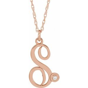 "14K Rose Gold-Plated Sterling Silver .02 CT Diamond Script Initial S 16-18"" Necklace"