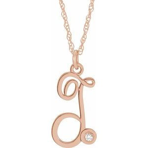 "14K Rose .02 CT Diamond Script Initial T 16-18"" Necklace"