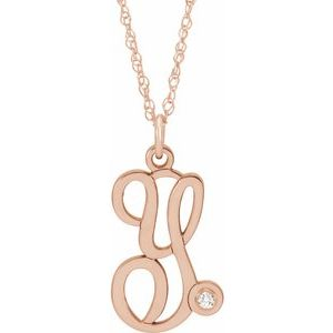 "14K Rose Gold-Plated Sterling Silver .02 CT Diamond Script Initial Y 16-18"" Necklace"