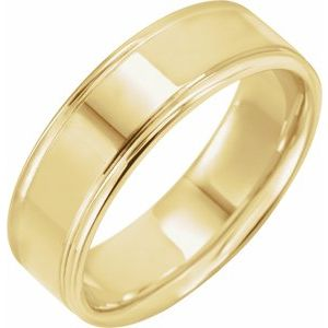 14K Yellow 7 mm Grooved Band Size 10