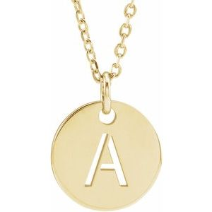 "18K Yellow Gold-Plated Sterling Silver Initial A 10 mm Disc 16-18"" Necklace"