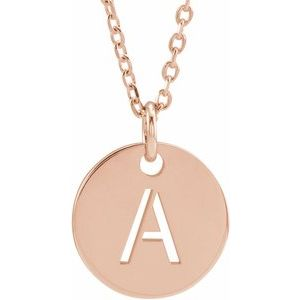 "14K Rose Initial A 10 mm Disc 16-18"" Necklace"