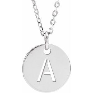 """14K White Initial A 10 mm Disc 16-18"""" Necklace"""
