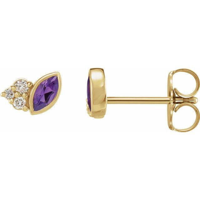 14K Yellow Amethyst & .05 CTW Diamond Earrings