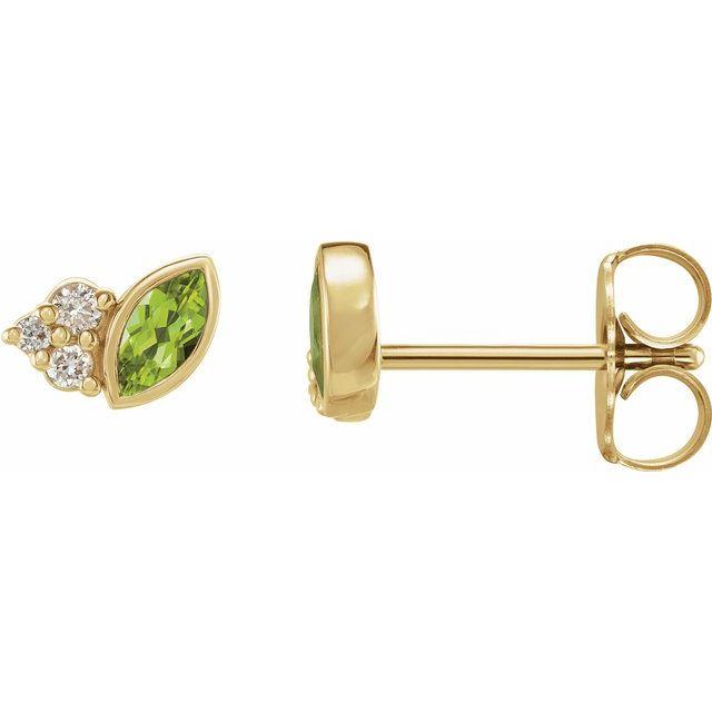 14K Yellow Peridot & .05 CTW Diamond Earrings