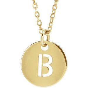"14K Yellow Initial B 10 mm Disc 16-18"" Necklace"