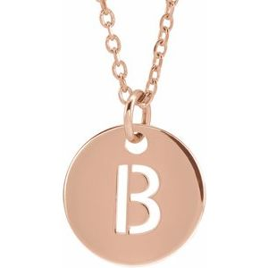 "14K Rose Initial B 10 mm Disc 16-18"" Necklace"