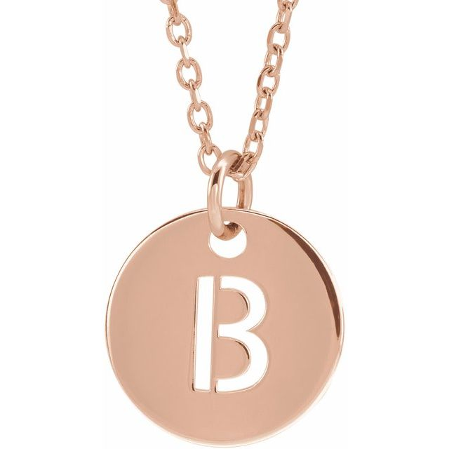 18K Rose Gold-Plated Sterling Silver Initial B 10 mm Disc 16-18