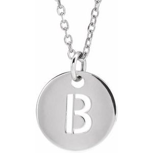 """14K White Initial B 10 mm Disc 16-18"""" Necklace"""