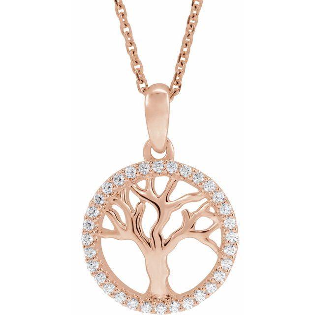 14K Rose 1/5 CTW Diamond Tree of Life 16-18