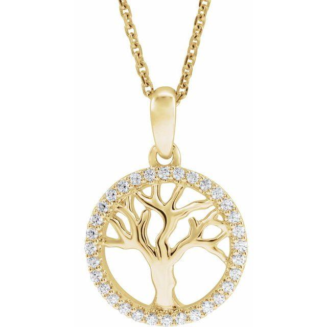 14K Yellow 1/5 CTW Diamond Tree of Life 16-18