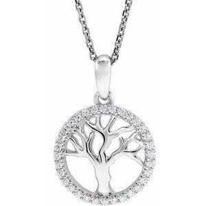 "14K White 1/5 CTW Diamond Tree of Life 16-18"" Necklace"