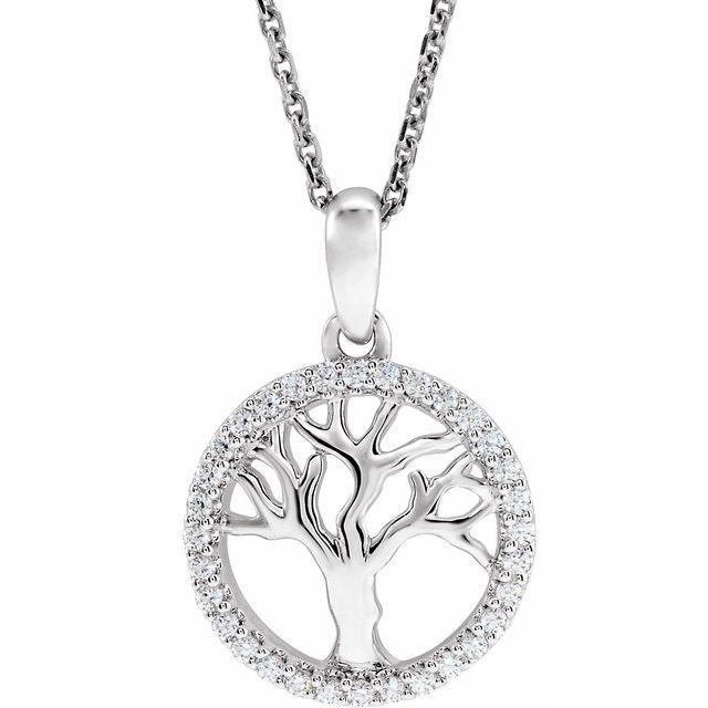 14K White 1/5 CTW Diamond Tree of Life 16-18