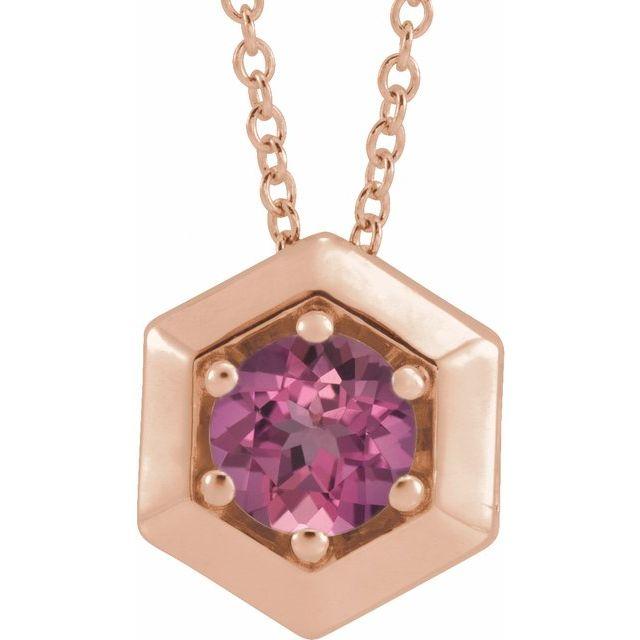14K Rose Pink Tourmaline Geometric 16-18