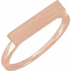 14K Rose 16x4 mm Rectangle Signet Ring