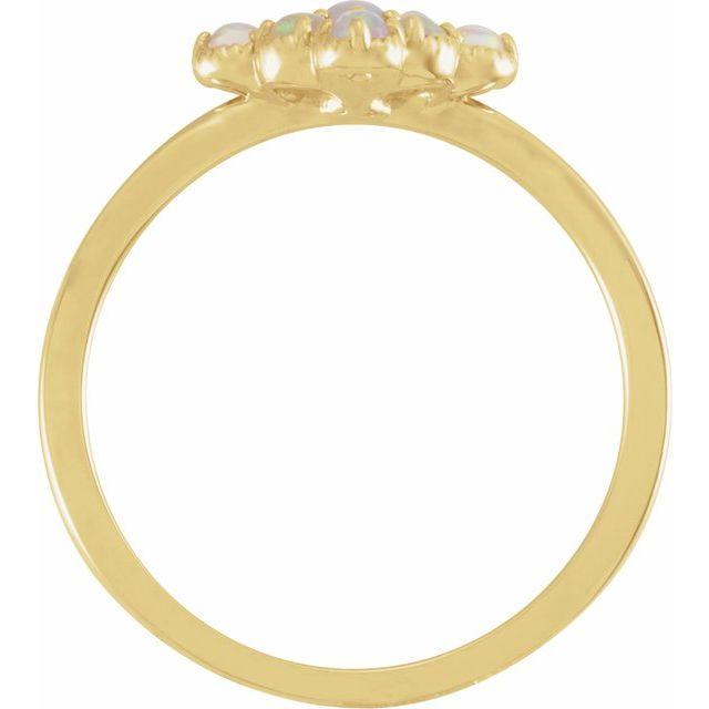 14K Yellow Ethiopian Opal & .02 CTW Diamond Ring