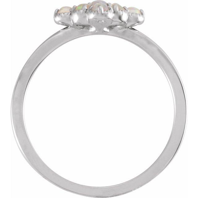 14K White Ethiopian Opal & .02 CTW Diamond Ring