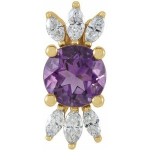 14K Yellow Amethyst & 1/4 CTW Diamond Pendant
