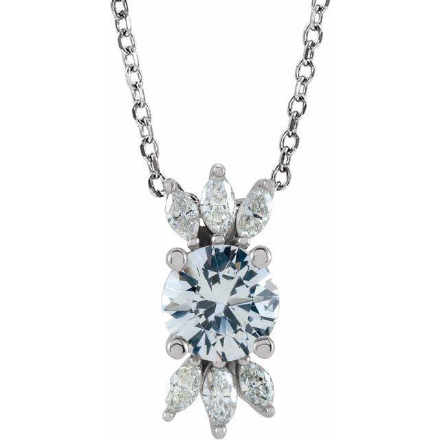 14K White Sapphire & 1/5 CTW Diamond 16-18