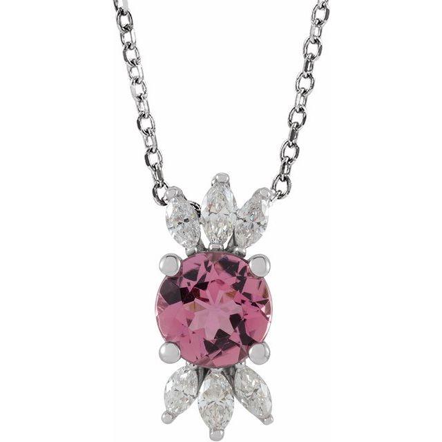 14K White Pink Tourmaline & 1/5 CTW Diamond 16-18