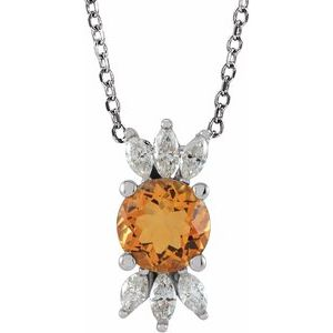 "14K White Citrine & 1/4 CTW Diamond 16-18"" Necklace"