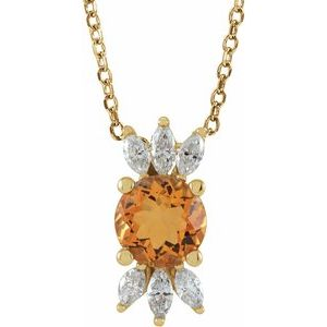 "14K Yellow Citrine & 1/4 CTW Diamond 16-18"" Necklace"
