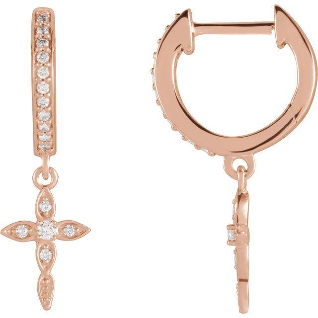 14K Rose 1/8 Diamond Cross Hoop Earrings