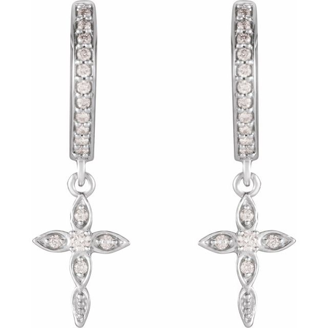 14K White 1/8 CTW Diamond Cross Huggies