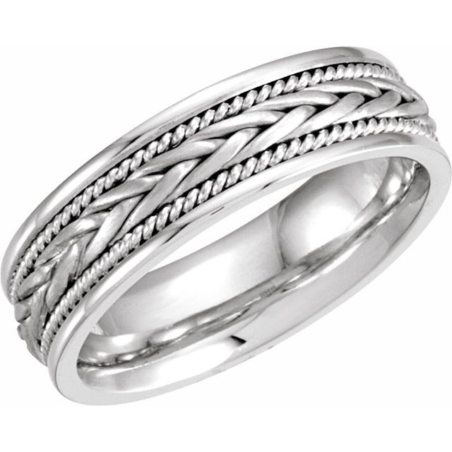 14K White 6.75 mm Woven Band Size 9.5