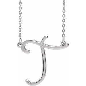 "Sterling Silver Script Initial T 16"" Necklace"