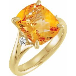 14K Yellow Checkerboard Citrine & 1/6 CTW Diamond Ring