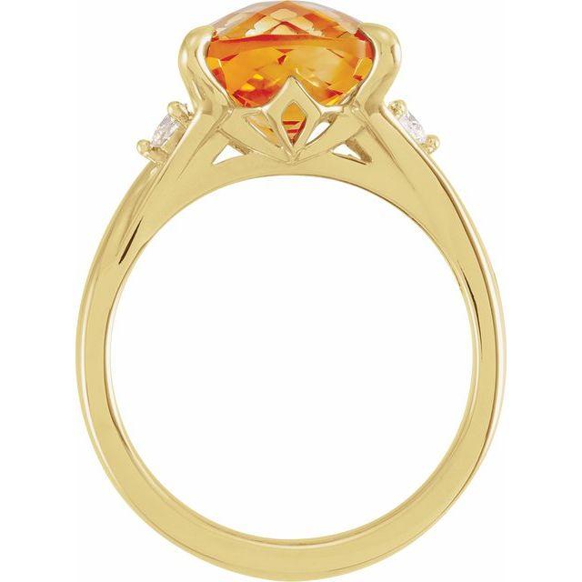 14K Yellow Checkerboard Citrine & 1/6 CTW Diamond Ring
