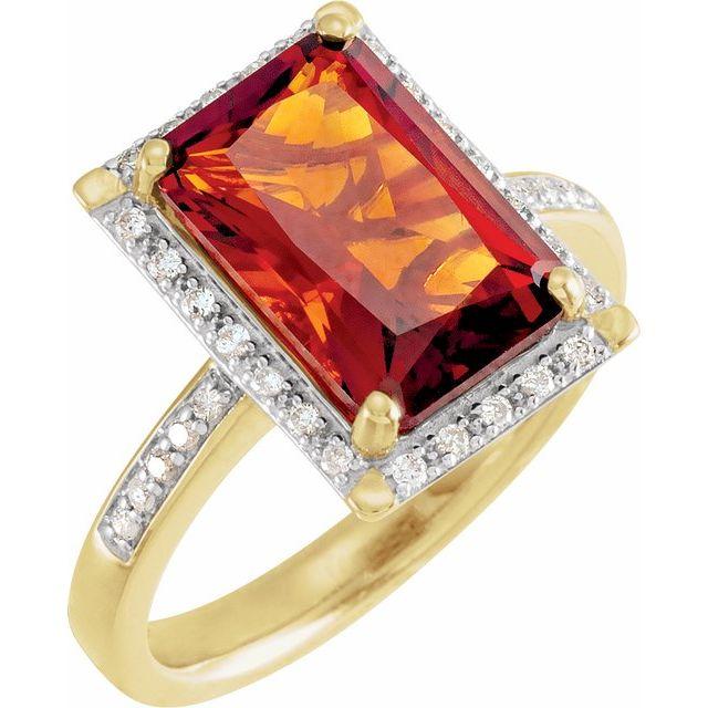 Madeira Citrine & Diamond Halo-Style Ring