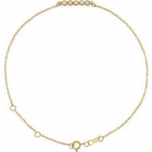 "14K Yellow.07 CTW Diamond Bar 6 1/2-7 1/2"" Bracelet"